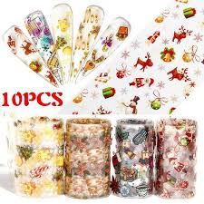 <b>10pcs</b> Christmas Decorations <b>Nails</b> Mix <b>Colorful</b> Transfer <b>Nail Foil</b> ...