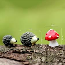 <b>3Pcs</b>/<b>set Artificial</b> mini hedgehog with red dot mushroom miniatures ...