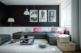 furniture living room wall:  black and pink living room