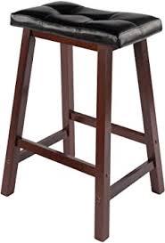 Winsome Wood Mona 24-Inch Cushion Saddle Seat <b>Stool</b>, <b>Black</b> ...