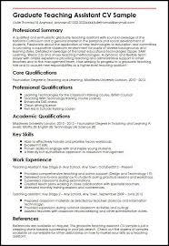 Resume Examples  Curriculum Vitae Resume Template for Teachers       resume teaching assistant