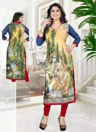 green black mesmerizing: mesmerizing green and yellow coloured banglori printed indian style designer kurti at best price by uttamvastra