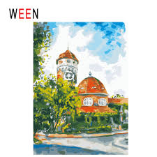 2019 <b>WEEN Town Sky Diy</b> Painting By Numbers Abstract Street Oil ...