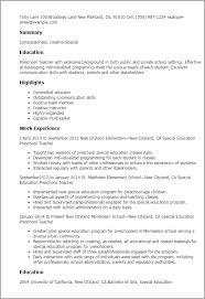 professional special education preschool teacher templates to    resume templates  special education preschool teacher