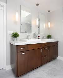 stylish dark brown vanity of white bathroom applying white granite countertops and vanity mirror with lights best lighting for makeup vanity