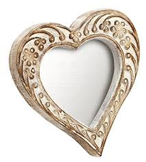 souvnear hand carved shabby chic heart shaped white carved solid mango wood