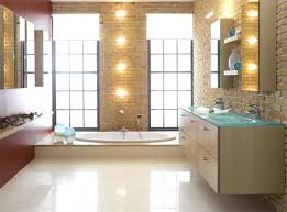 unusual exposed brick wall in spacious bathroom with oak vanity and fancy bathroom lighting ideas bathroom lighting ideas photos