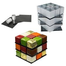 30Pcs/set <b>Aluminum</b> Alloy <b>Rubiks Cube</b> Cake Mold Set DIY Dessert ...