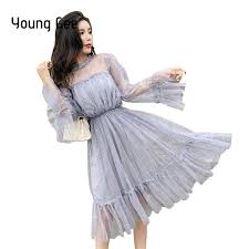 2019 <b>Young Gee</b> Fashion <b>Women</b> See Through Sequined Dresses ...