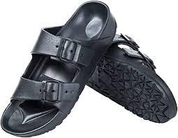 DL <b>Men's</b> EVA Slides <b>Sandals</b> Adjustable Double <b>Buckle</b> Flat