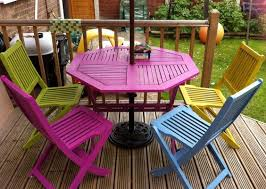 bright painted garden furniture adds a bit of colour to the garden bright coloured furniture