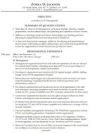 Cover Letter  Resume Summary Example For It Management Positon With Qualification In Planning And Developing Rufoot Resumes  Esay  and Templates