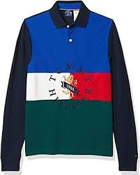 Tommy Hilfiger Multi <b>Color Block Stripe</b> Long <b>Sleeve</b> Rugby Polo ...