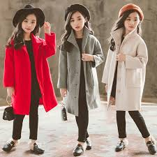 2019 <b>Autumn Winter Girls Woolen</b> Coat Fashion Design Long Coat ...