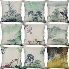 Cotton Linen Fish ink landscape Cushion Cover Throw Pillow Case ...