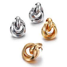 <b>2019 New</b> Design Round <b>Metal</b> Wrap Drop Earrings Gold <b>Elegant</b>