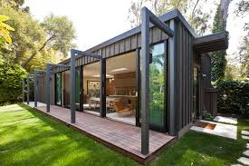 Ornament Storage Container Exterior Modern With Board And Battan Contemporary Deck Flat Roof Glass Doors Large