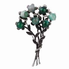 <b>CINDY XIANG</b> New Green Color <b>Stone</b> Flower Brooches for Women ...