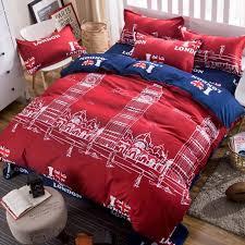 <b>Hot Sale</b> Red I Love London Print Bedding Sets 3/<b>4 Pcs</b> Set 1*quilt ...
