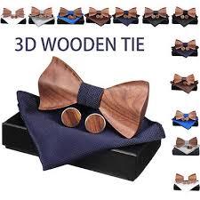 <b>4Pcs Men's Wooden</b> Tie Pocket Square Cufflink <b>Wood Bow</b> Tie Set ...