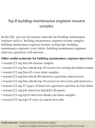 top  building maintenance engineer resume samplestop  building maintenance engineer resume samples in this file  you can ref resume materials