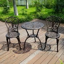 new patio furniture modern design cast aluminum bistro set in antique copper metal outdoor furniture sets