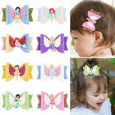 Baby <b>Girls</b> Wings <b>Glitter</b> Bowknot Hairpin Cartoon Princess <b>Bow</b> ...