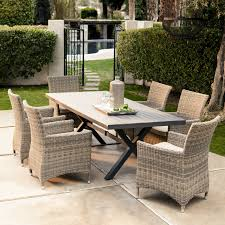 patio table and 6 chairs: round outdoor dining table seats  home decor