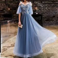 <b>Walk Beside You</b> Blue Prom Dresses <b>Short</b> Sleeves A-line Lace ...