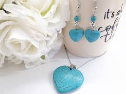 <b>Heart</b> Turquoise Set -Turquoise <b>Necklace Dangle Earrings</b> for Women