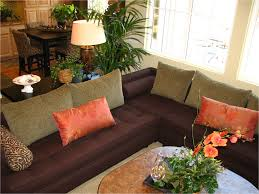 living room beautiful plant decor decorating ideas house dark brown fabric loveseats square beige cushion white charming office plants