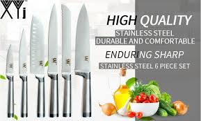 <b>XYj 6pcs</b> Kitchen <b>Knives Set</b> Paring Utility Santoku Bread Slicing ...