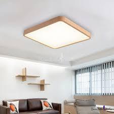 Flush Mount Home Fixture Lamp <b>Wooden Frame Led</b> Rectangular ...