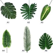 20pcs Artificial Fake Monstera Palm <b>Leaves Leaf</b> shaped <b>Green</b> ...