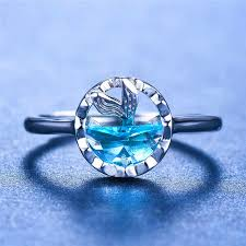 <b>Cute Female Blue</b> Topaz Mermaid Ring Real 925 Sterling Silver ...