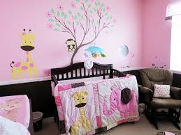 girls room decor ideas painting: bedroom wonderful black pink wood modern design baby room decorating ideas be equipped black wood crib pink wall paint girrafe armchairs windows at kids