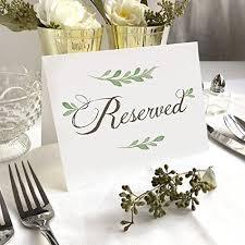 4 Pack- White Greenery <b>Reserved Wedding</b> Table <b>Signs</b> - Folded