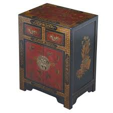 exp handmade oriental furniture 27 inch antique style black leather end table with nature motifs from asia exports corp dba exp asian style furniture asian