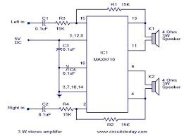 w stereo amplifier using max   electronic circuits and     w stereo amplifier using max