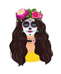 Day of the <b>dead girl</b> vector illustration. Dead <b>skull female</b> face <b>Woman</b>