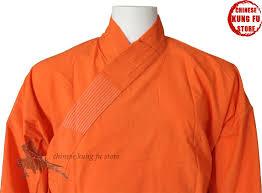 Orange Cotton Shaolin Kung fu Suit Buddhist Monk Robe Martial ...