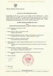 certifications manufacturing license zezwolenie pl 1