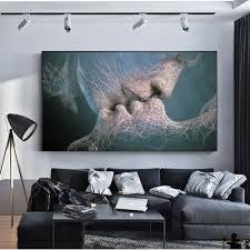 <b>SOURBAN Couple Kiss Abstract</b> Wall Art On Canvas Prints Modern ...