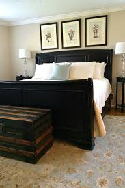 piece emmaline upholstered panel bedroom: master bedroom with a jet black sleigh bed from pottery barn lush super comforable