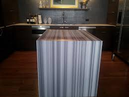 calacatta marble kitchen waterfall: terwilliger after kitchen refrigerator wall lamination with waterfall calacatta gold equator marble with mitered edge and waterfall