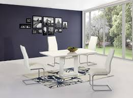 cream compact extending dining table: spaccia high gloss white extending dining table