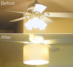 diy ceiling fan makeover drum shade tutorial shows how to attach to piece ceiling fans ugly