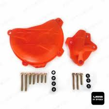 Orange <b>Clutch Cover Protection</b> W/ <b>Water</b> Pump <b>Protector</b> For KTM ...