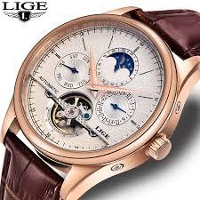 <b>LIGE</b> Mens Watches Top Brand <b>Luxury</b> Clock <b>Automatic Mechanical</b> ...