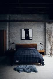 masculine bachelor bedroom decor gray brick wall wooden furniture bachelor furniture